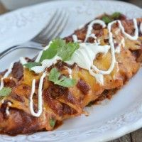 BBQ Chicken Enchiladas with Sweet Potato and Black Beans