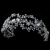 Rhodium Plated Crystal Hand Wired Floral Wedding Headband