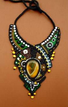 Rainforest beaded bib embroidery design with yellow agate stone