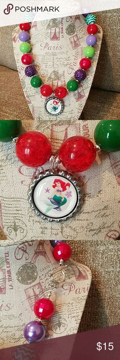 Custom handmade Little Mermaid Ariel necklace Custom hand made Little Mermaid Princess Ariel Chunky Bead necklace. Note: necklace contains small parts. Do not leave small children unattended with necklace. Necklace is not a toy. Price firm. Disney Accessories Jewelry
