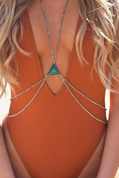 Evening of Envy Triangle Emerald Stone Body Chain (Silver) - Beach Jewelry Body Jewelry Bikini, Body Jewellery, Branded Jewellery, Mens Silver Necklace, Silver Jewelry, Silver Earrings, Silver Bracelets, Jewelry Rings, Industrial Piercing Jewelry