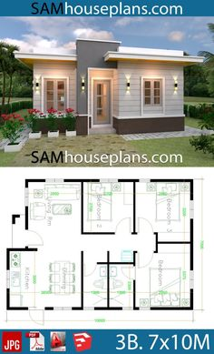 House Plans with 3 Bedrooms with terrace roof - Sam Hou.- House Plans with 3 Bedrooms with terrace roof – Sam House Plans House Design House Plans with 3 Bedrooms with terrace roof – Sam House Plans Sims House Plans, House Layout Plans, Dream House Plans, Small House Plans, House Layouts, House Design Plans, One Floor House Plans, Small House Layout, Floor Plans