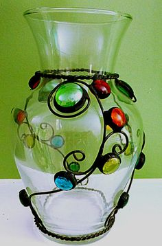 Handmade Clear Glass Vase with Scrollwork and Glass Gems Clear Glass Vases, Glass Candlesticks, Flower Vases, Marble Crafts, Stained Glass, Unique Gifts, Vase Ideas, Diy Crafts, Clay Ideas