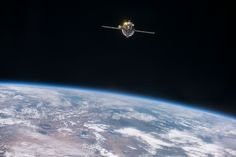 https://flic.kr/p/K4GwwQ   Progress 62P Undocking and Redocking Test   iss048e017190 (07/01/2016) --- The undocked Russian Progress 62 spacecraft backs away from the International Space Station for a test of the upgraded tele-robotically operated rendezvous system, or the TORU manual docking system.