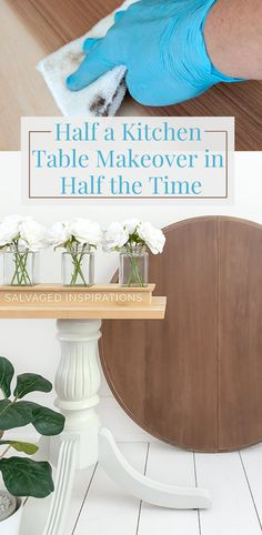 Half a Kitchen Table Makeover in Half the Time  | Easy Table Makeover | Salvaged Inspirations  #siblog #salvagedinspirations #paintedfurniture #furniturepainting #DIYfurniture #furniturepaintingtutorials #howto #furnitureartist #furnitureflip #salvagedfurniture #furnituremakeover #beforeandafterfurnuture #paintedfurnituredieas #dixiebellepaint #redesignwithprima Painted Furniture For Sale, Salvaged Furniture, Shabby Chic Furniture, Furniture Makeover, Cool Furniture, Painted End Tables, Painted Kitchen Tables, Kitchen Paint, Happy Paintings