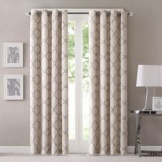 Fretwork 63-Inch Window Curtain Panel in Beige