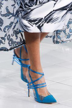 Prabal Gurung Blue Strappy Sandal Spring/Summer 2014 NYFW #Shoes #Heels