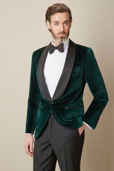 Mais recentes Modelos Casaco Calça Noivo Tuxedo Preto Xaile De Veludo Verde lapela Blazer Terno Cavalheiro 2 Peça Mens Casamento Prom Party ternos