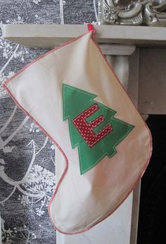 Christmas Tree Stocking, Personalised and Upcycled. £7.50