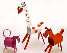 Cute kid craft - paper-towel roll animals