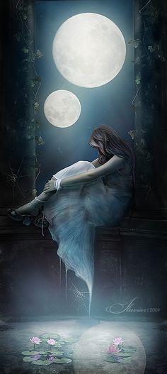 Illustration Moon Woman under two full moons at the lake Fantasy Magic, Fantasy World, Fantasy Kunst, Fantasy Art, Elfen Fantasy, Moon Magic, Beautiful Moon, Moon Goddess, Moon Art