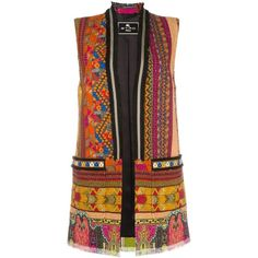 Etro multi pattern sleeveless coat (€1.495) ❤ liked on Polyvore featuring outerwear, coats, multicolor, colorful coat, brown coat, print coat, pattern coat and etro coat