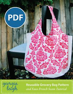 Reusable Grocery Bag PDF Sewing Pattern with Bonus Sewing Lesson | PatternPile.com – Hundreds of Patterns for Making Handbags, Totes, Purses, Backpacks, Clutches, and more.