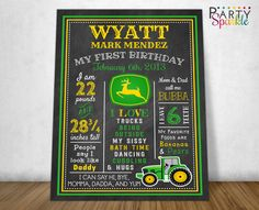 TRACTOR Chalkboard Birthday Board - My First Birthday Boys Green and Yellow 1st Birthday Poster- Photo Prop - Digital Printable jpg File by PartySparkle on Etsy https://www.etsy.com/listing/259028426/tractor-chalkboard-birthday-board-my