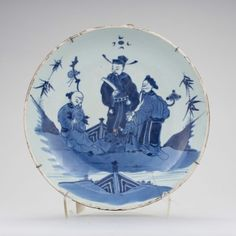 Prato em porcelana Chinesa de Cia das Indias do sec.17th, 30cm de diametro,