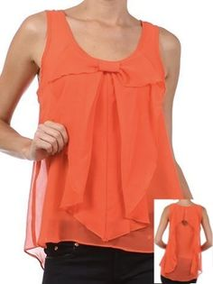 Bow Top with Back Detail in Coral - $26.00 : FashionCupcake, Designer Clothing, Accessories, and Gifts