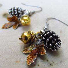 Autumn Treasures Earrings - Silver Pine Cone, Gold Acorn, Auburn Leaf