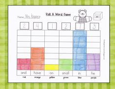 Kindergarten Crayons: Roll A Word Game to Build Sight Word Knowledge