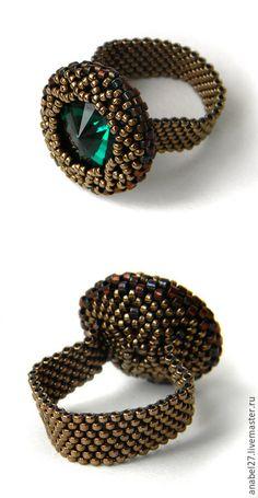 Купить Стильное кольцо с изумрудным кристаллом Swarovski - стильное кольцо, кольцо swarovski, кольцо сваровски