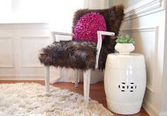 Fur Chair :: No Sew Reupholstery diy recover a chair with fur and a glue gun. from nesting place. The post Fur Chair :: No Sew Reupholstery appeared first on Upholstery Ideas. Upholstery Trim, Furniture Upholstery, Upholstered Chairs, Diy Furniture, Upholstery Cushions, Upholstery Cleaner, Upcycled Furniture, Chaise Diy, By Any Means Necessary