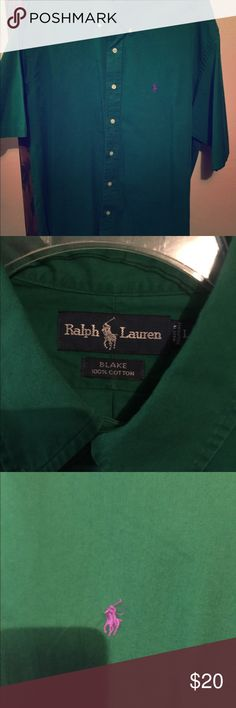 """Ralph Lauren polo button down short sleeve Ralph Lauren Polo short sleeve button down. Size large """"Blake"""", which is a relaxed fit. In great condition! Fits more like an XL Ralph Lauren polo Shirts Casual Button Down Shirts"""
