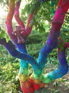 """Colorful crochet artist Babukatorium also participates in """"yarnbombing"""" - have a look at some of her other creations at http://www.crochetconcupiscence.com/tag/babukatorium/"""