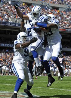 Indianapolis Colts linebacker Jerrell Freeman celebrates after his interception in the end zone. Week 1 2012 season