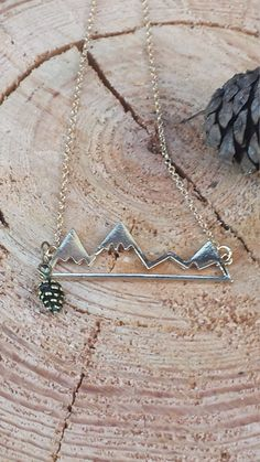 Gold Mountain necklace pinecone outdoors northwest outdoors washington pnw silver and Gold