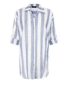 White Sheer Stripe Beach Shirt | New Look