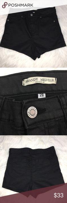 "Brandy Melville High Waist Shorts Black Sz. 28 Brandy Melville high waist shorts in size 28. In excellent used condition. Please see photos for complete description.   Measurements: Waist: 13.5"" Rise: 11.5"" Length: 12"" Brandy Melville Shorts"