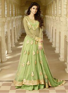 Entrancing Zari Work Green Net Floor Length Anarkali Suit