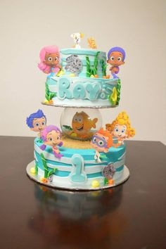 Bubble guppies cake Bubble Guppies Birthday Cake, Bubble Guppies Party, Birthday Cake Girls, 3rd Birthday, Birthday Cakes, Birthday Ideas, Cupcake Party, Cupcake Cakes, Underwater Birthday
