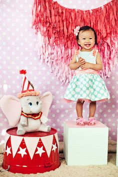 The Dumbo on the bucket is cute  Very Cute Dumbo  Girly Dumbo Inspired Circus Party {First Birthday}