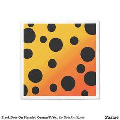 Black Dots On Blended OrangeToYellow Standard Cocktail Napkin