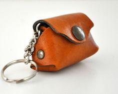 Llavero de cuero llavero bolso Mini marrón hecho a por leatherline