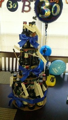 Microbrews beer bottle cake for husband's 30th bday. 30 beers, each one with attached reason I love him.