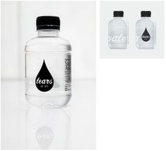Eyescream branding & interior by m Barcelona store - Tears Water Bottle Logos, Drinking Water Bottle, Water Bottle Design, Water Bottle Labels, Pet Bottle, Bottled Water, Water Logo, Water Bottles, Water Packaging