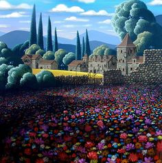 Spring is in the air! Wildflowers France by George Callaghan Monet Paintings, Cool Paintings, Monuments, Witch Art, Traditional Paintings, Naive Art, Fantasy Landscape, Environmental Art, Unique Art