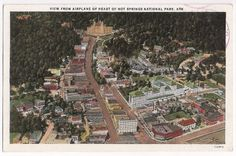 Hot Springs National Park Arkansas AR, view from Airplane, postmarked 1935