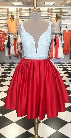 short homecoming dress, 2017 homecoming dress, party dress, white and red short homecoming dress