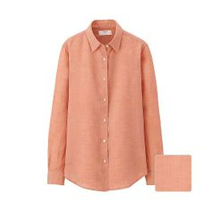 WOMEN Premium Linen Long Sleeve Shirt - Orange