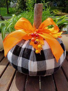 Elegant Flannel Plaid, Fabric Pumpkin, Autumn Decor, Thanksgiving Decor, Harvest  Table, Rustic Home Decor, Fall Farmhouse Decor, Fall Decoration