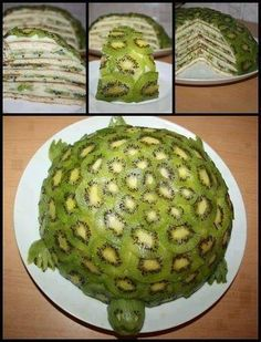 """Fruity Turtle Cake! Who needs refined sugar when you can re-create something amazing from natural fruit sugars!      RECIPE:Peeled, and thinly sliced kiwis (as many as it takes to cover shell)Bananas, thinly sliced, lengthwiseCoconut flesh (1/2 cup)Coconut water (1/4 cup)Dates, pitted (1/2 cup)1. Put coconut flesh, coconut water, and dates into a blender, and blend on high until you get an """"icing"""" like consistency (not too liquidy, if it is too thin, add more dates)2. Start wit"""