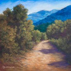 Towards Mont Sainte-Victoire by Olli Malmivaara, Soft pastel painting on sanded paper 30 x 30 cm