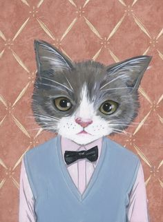 Custom portraits of cats in clothes !!!!