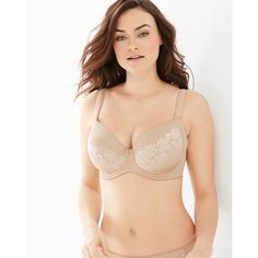 Soma Stunning Support Full Coverage Bra ($60) ❤ liked on Polyvore featuring intimates, bras, bras full coverage, soft tan, padded underwire bra, full cup bra, seamless underwire bra, full coverage underwire bra and lacy bras