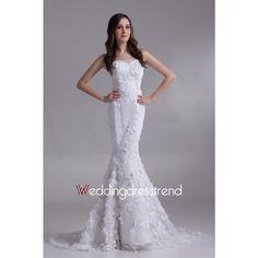 Modern Mermaid Flower Sweep Train Lace Wedding Dress http://www.weddingdresstrend.com/en/modern-mermaid-flower-sweep-train-lace-wedding-dress-wg81412287.html #Wedding #dress