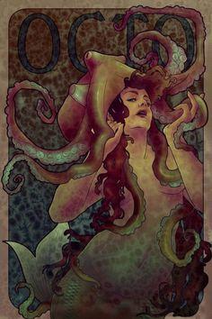 (99+) Following | Tumblr Octopus Mermaid, Octopus Art, Octopus Squid, Octopus Tentacles, Kraken, Art Nouveau, Mermaid Pictures, Mermaid Tale, Mermaids And Mermen