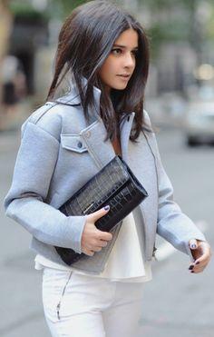 Grey Heathered Biker Jacket