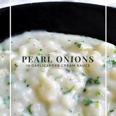 Delicious pearl onions in a creamy garlic herb sauce is the perfect side dish recipe to serve during your holiday meal! via fi Creamed Pearl Onions Recipe, Pearl Onion Recipe, Creamed Onions, Onion Recipes, Rib Recipes, Roast Recipes, Side Dish Recipes, Rib Roast Recipe, Prime Rib Recipe